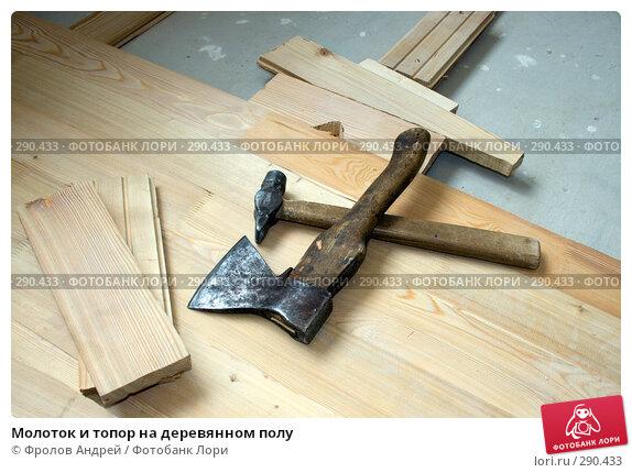 Молоток и топор на деревянном полу, фото № 290433, снято 4 мая 2008 г. (c) Фролов Андрей / Фотобанк Лори