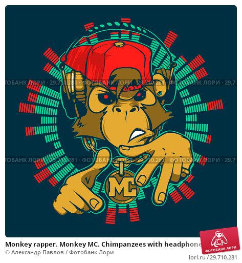 Купить «Monkey rapper. Monkey MC. Chimpanzees with headphones», иллюстрация № 29710281 (c) Александр Павлов / Фотобанк Лори