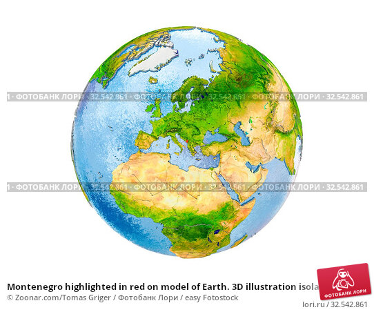 Купить «Montenegro highlighted in red on model of Earth. 3D illustration isolated on white background. Elements of this image furnished by NASA.», фото № 32542861, снято 8 декабря 2019 г. (c) easy Fotostock / Фотобанк Лори