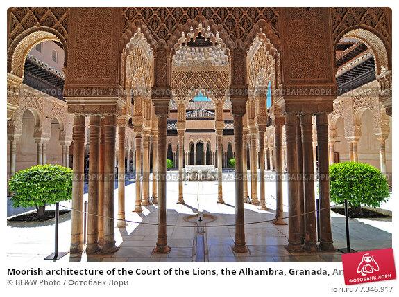 Купить «Moorish architecture of the Court of the Lions, the Alhambra, Granada, Andalucia (Andalusia), Spain, Europe», фото № 7346917, снято 26 июня 2019 г. (c) BE&W Photo / Фотобанк Лори