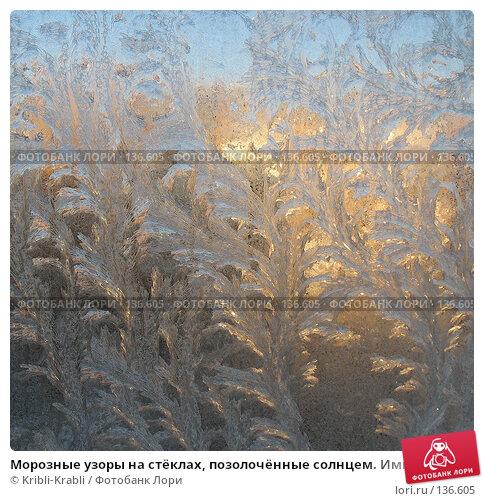 Морозные узоры на стёклах, позолочённые солнцем. Импрессионизм в природе., фото № 136605, снято 2 декабря 2007 г. (c) Kribli-Krabli / Фотобанк Лори