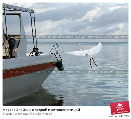 Морской пейзаж с лодкой и летящей птицей, фото № 243745, снято 16 марта 2008 г. (c) Татьяна Белова / Фотобанк Лори