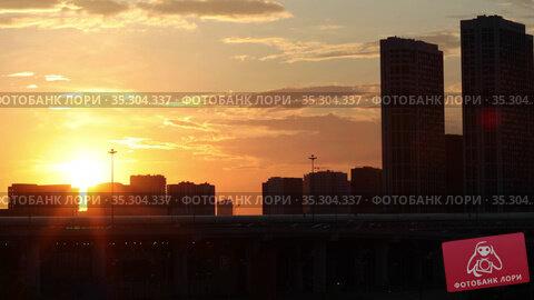 Moscow city landscape at sunset, Russia. Стоковое видео, видеограф Алексей Кузнецов / Фотобанк Лори