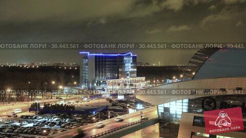 Купить «MOSCOW, RUSSIA - 25 december 2017: Night panoramic view of Terminal A of Vnukovo International Airport and airport building with New Year's decorations», видеоролик № 30443561, снято 24 марта 2019 г. (c) Mikhail Starodubov / Фотобанк Лори