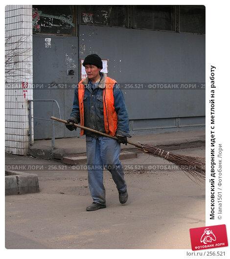 Купить «Московский дворник идет с метлой на работу», эксклюзивное фото № 256521, снято 31 марта 2008 г. (c) lana1501 / Фотобанк Лори