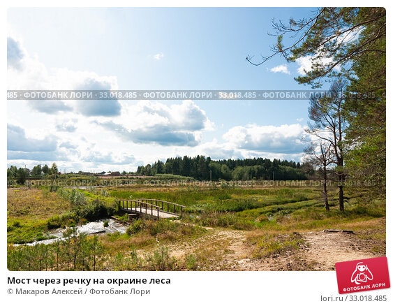 Купить «Мост через речку на окраине леса», фото № 33018485, снято 23 августа 2019 г. (c) Макаров Алексей / Фотобанк Лори
