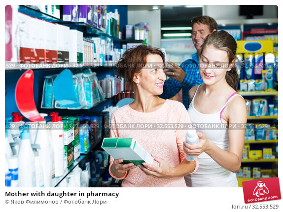 Купить «Mother with daughter in pharmacy», фото № 32553529, снято 9 декабря 2019 г. (c) Яков Филимонов / Фотобанк Лори