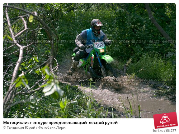 Купить «Мотоциклист эндуро преодолевающий  лесной ручей», фото № 66277, снято 24 апреля 2018 г. (c) Талдыкин Юрий / Фотобанк Лори