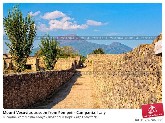 Mount Vesuvius as seen from Pompeii - Campania, Italy. Стоковое фото, фотограф Zoonar.com/Laszlo Konya / age Fotostock / Фотобанк Лори