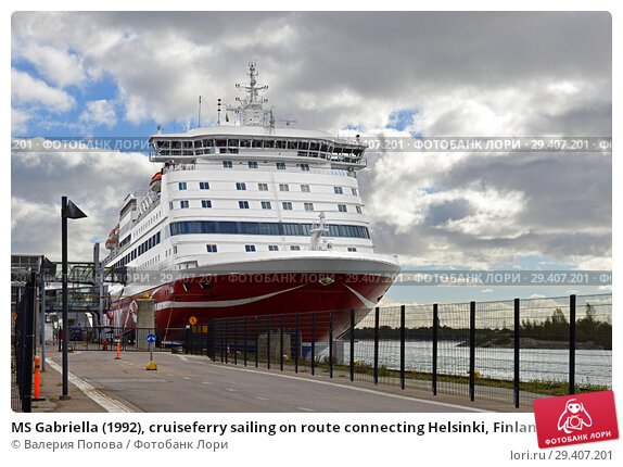 MS Gabriella (1992), cruiseferry sailing on route connecting Helsinki, Finland and Stockholm, Sweden for Viking Line. Хельсинки (2018 год). Редакционное фото, фотограф Валерия Попова / Фотобанк Лори