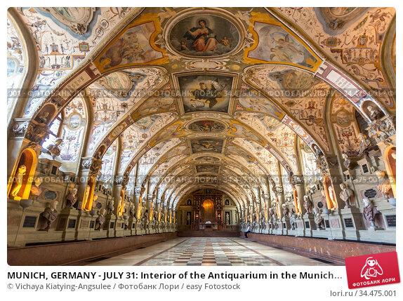 MUNICH, GERMANY - JULY 31: Interior of the Antiquarium in the Munich... Стоковое фото, фотограф Vichaya Kiatying-Angsulee / easy Fotostock / Фотобанк Лори