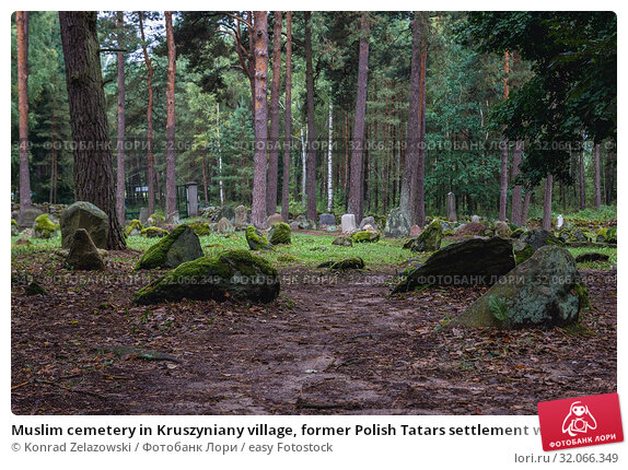 Muslim cemetery in Kruszyniany village, former Polish Tatars settlement within Sokolka County, Podlaskie Voivodeship of Poland. Стоковое фото, фотограф Konrad Zelazowski / easy Fotostock / Фотобанк Лори
