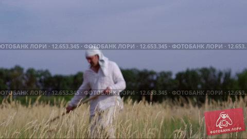 Мужчина в белой одежде косит траву. Стоковое видео, видеограф Земсков Андрей  Владимирович / Фотобанк Лори