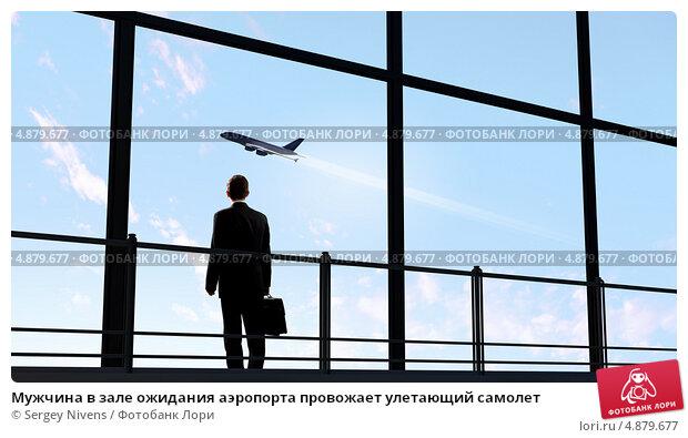 Купить «Мужчина в зале ожидания аэропорта провожает улетающий самолет», фото № 4879677, снято 20 марта 2010 г. (c) Sergey Nivens / Фотобанк Лори