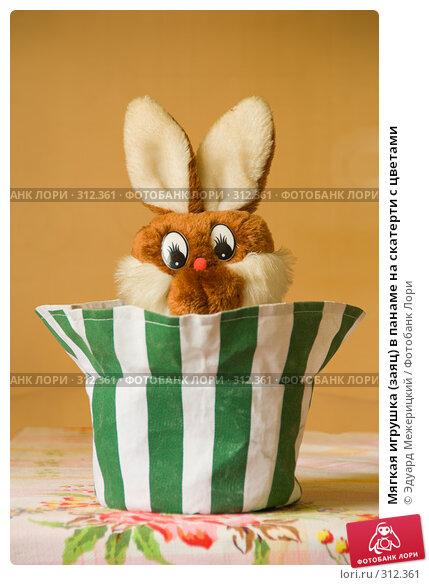 Мягкая игрушка (заяц) в панаме на скатерти с цветами, фото № 312361, снято 5 июня 2008 г. (c) Эдуард Межерицкий / Фотобанк Лори