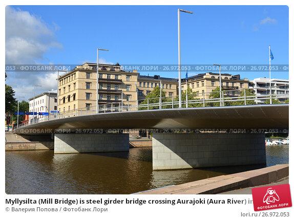Купить «Myllysilta (Mill Bridge) is steel girder bridge crossing Aurajoki (Aura River) in middle of city. Bridge was opened on 19 September 2011», фото № 26972053, снято 1 сентября 2017 г. (c) Валерия Попова / Фотобанк Лори