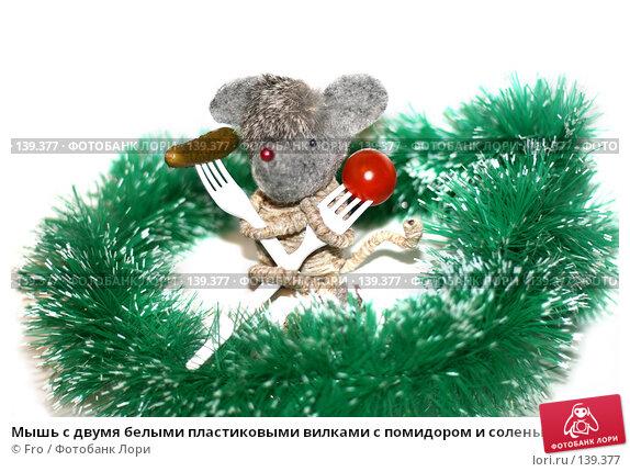 Купить «Мышь с двумя белыми пластиковыми вилками с помидором и соленым огурцом», фото № 139377, снято 23 апреля 2018 г. (c) Fro / Фотобанк Лори