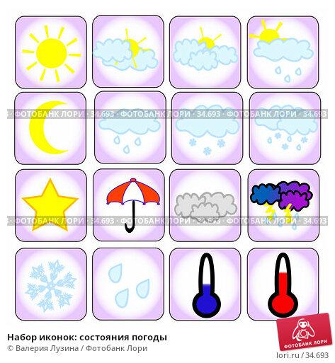 Купить «Набор иконок: состояния погоды», иллюстрация № 34693 (c) Валерия Потапова / Фотобанк Лори