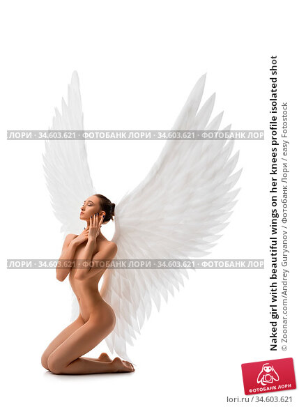 Naked girl with beautiful wings on her knees profile isolated shot. Стоковое фото, фотограф Zoonar.com/Andrey Guryanov / easy Fotostock / Фотобанк Лори