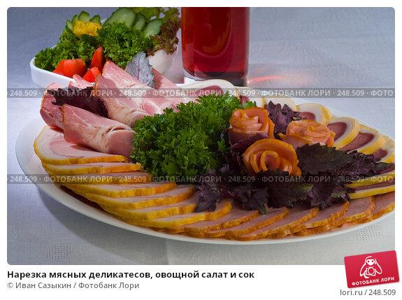 Нарезка мясных деликатесов, овощной салат и сок, фото № 248509, снято 22 июля 2004 г. (c) Иван Сазыкин / Фотобанк Лори
