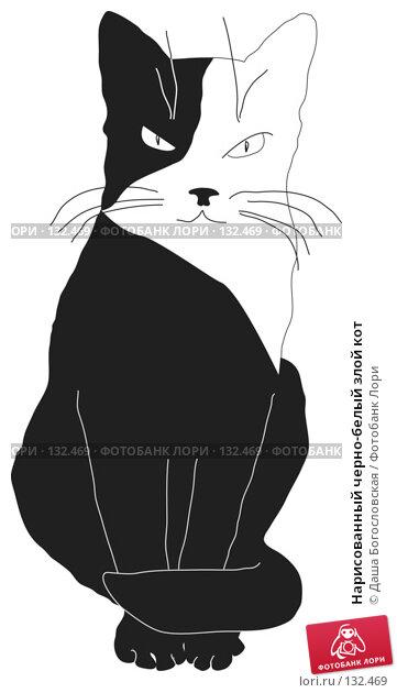 Нарисованный черно-белый злой кот, иллюстрация № 132469 (c) Даша Богословская / Фотобанк Лори