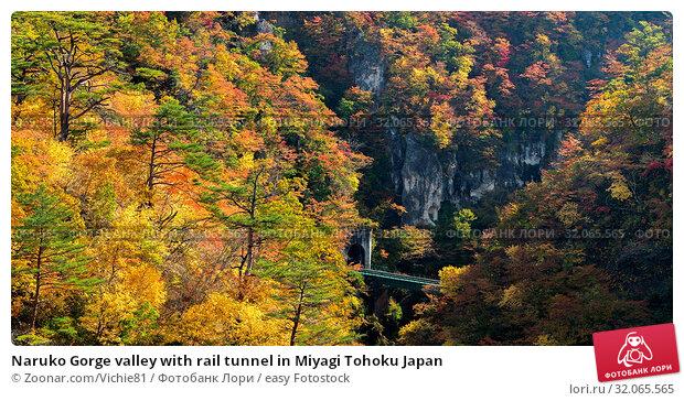 Naruko Gorge valley with rail tunnel in Miyagi Tohoku Japan. Стоковое фото, фотограф Zoonar.com/Vichie81 / easy Fotostock / Фотобанк Лори