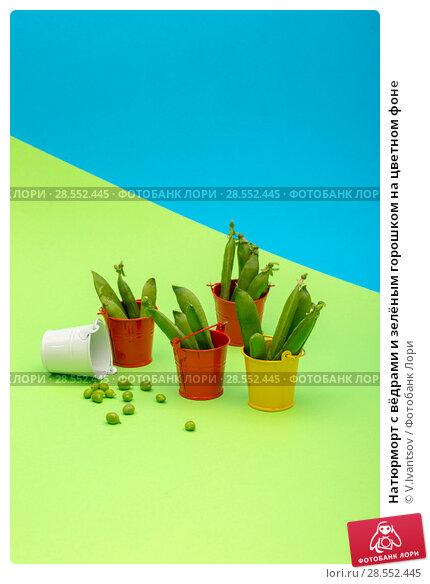 Купить «Натюрморт с вёдрами и зелёным горошком на цветном фоне», фото № 28552445, снято 4 июня 2018 г. (c) V.Ivantsov / Фотобанк Лори
