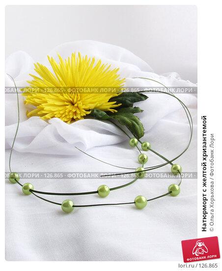 Натюрморт с желтой хризантемой, фото № 126865, снято 6 ноября 2006 г. (c) Ольга Хорькова / Фотобанк Лори