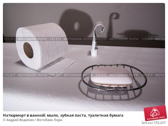 Натюрморт в ванной: мыло, зубная паста, туалетная бумага, фото № 172217, снято 21 декабря 2007 г. (c) Андрей Водилин / Фотобанк Лори