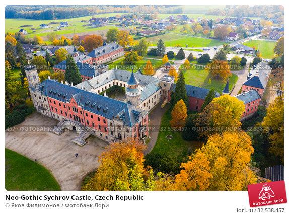 Купить «Neo-Gothic Sychrov Castle, Czech Republic», фото № 32538457, снято 18 октября 2019 г. (c) Яков Филимонов / Фотобанк Лори
