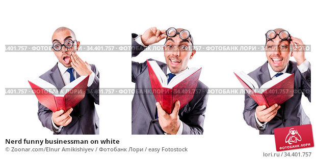 Nerd funny businessman on white. Стоковое фото, фотограф Zoonar.com/Elnur Amikishiyev / easy Fotostock / Фотобанк Лори