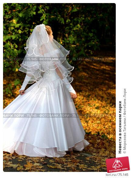 Купить «Невеста в осеннем парке», фото № 75145, снято 2 октября 2005 г. (c) Морозова Татьяна / Фотобанк Лори