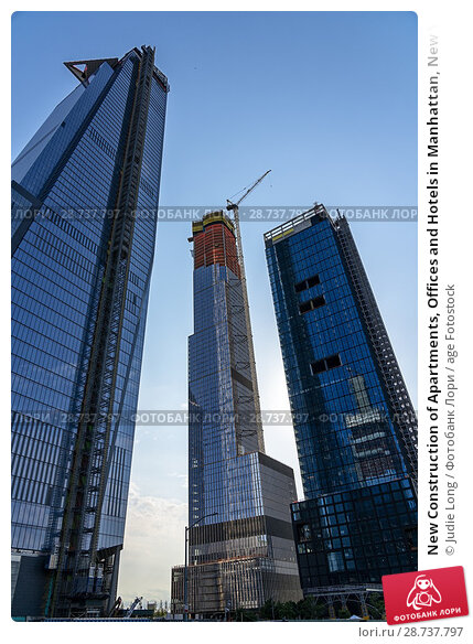 Купить «New Construction of Apartments, Offices and Hotels in Manhattan, New York City. Part of the Hudson Yards Complex, Late Day.», фото № 28737797, снято 7 июня 2018 г. (c) age Fotostock / Фотобанк Лори