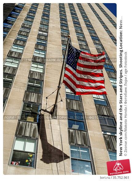 New York skyline and the Stars and Stripes. Shooting Location: New... Стоковое фото, фотограф Zoonar.com/Makoto Honda / age Fotostock / Фотобанк Лори