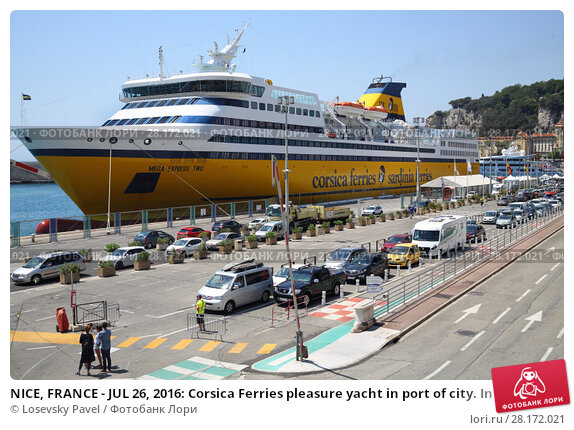 Купить «NICE, FRANCE - JUL 26, 2016: Corsica Ferries pleasure yacht in port of city. In 40 years Corsica Ferries became leading private ferry company for trips to Corsica and Sardinia», фото № 28172021, снято 26 июля 2016 г. (c) Losevsky Pavel / Фотобанк Лори