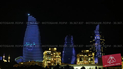 Купить «Night view of Baku Flame Towers, Azerbaijan», видеоролик № 30367837, снято 17 марта 2019 г. (c) Serg Zastavkin / Фотобанк Лори