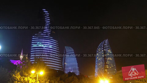 Купить «Night view of Baku Flame Towers, Azerbaijan», видеоролик № 30367845, снято 18 марта 2019 г. (c) Serg Zastavkin / Фотобанк Лори