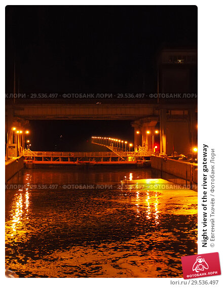 Купить «Night view of the river gateway», фото № 29536497, снято 1 июля 2012 г. (c) Евгений Ткачёв / Фотобанк Лори