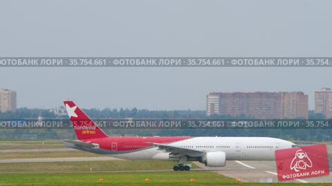 Nordwind Airlines preparing for departure. Редакционное видео, видеограф Игорь Жоров / Фотобанк Лори
