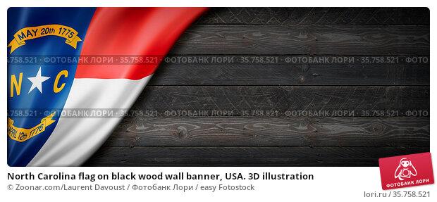 North Carolina flag on black wood wall banner, USA. 3D illustration. Стоковое фото, фотограф Zoonar.com/Laurent Davoust / easy Fotostock / Фотобанк Лори