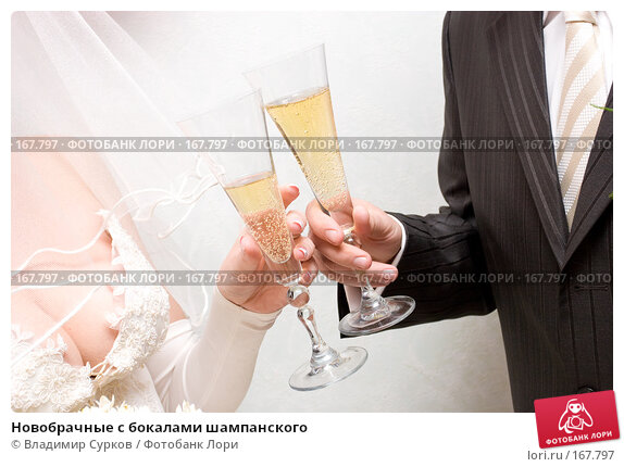 Новобрачные с бокалами шампанского, фото № 167797, снято 26 августа 2007 г. (c) Владимир Сурков / Фотобанк Лори