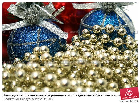 Новогодние праздничные украшения  и  праздничные бусы золотистого цвета, фото № 14113, снято 20 ноября 2006 г. (c) Александр Паррус / Фотобанк Лори