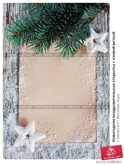 Купить «Новогодняя поздравительная открытка с еловой веткой», фото № 4009661, снято 12 октября 2012 г. (c) Darkbird77 / Фотобанк Лори