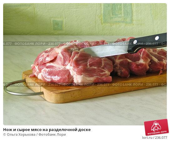 Нож и сырое мясо на разделочной доске, фото № 236077, снято 27 апреля 2017 г. (c) Ольга Хорькова / Фотобанк Лори