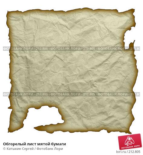 Обгорелый лист мятой бумаги, фото № 212805, снято 24 января 2017 г. (c) Катыкин Сергей / Фотобанк Лори