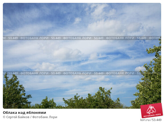 Облака над яблонями, фото № 53449, снято 4 июня 2007 г. (c) Сергей Байков / Фотобанк Лори