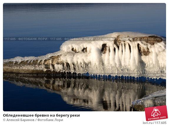 Обледеневшее бревно на берегу реки, фото № 117605, снято 11 ноября 2007 г. (c) Алексей Баринов / Фотобанк Лори