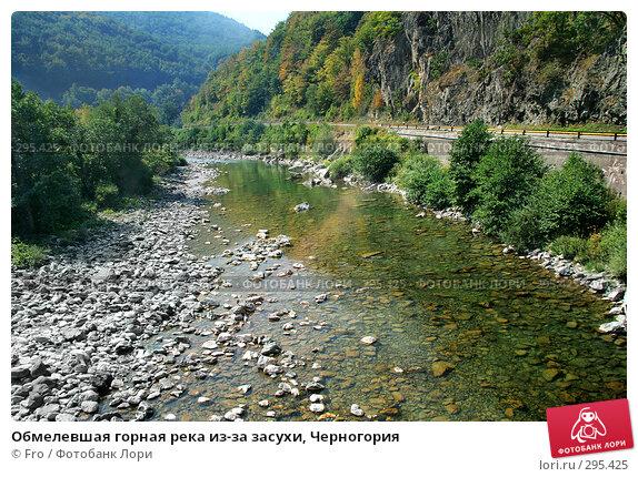 Купить «Обмелевшая горная река из-за засухи, Черногория», фото № 295425, снято 28 августа 2007 г. (c) Fro / Фотобанк Лори