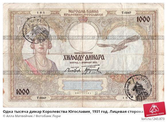 Одна тысяча динар Королевства Югославия, 1931 год. Лицевая сторона, фото № 243873, снято 20 июля 2017 г. (c) Алла Матвейчик / Фотобанк Лори