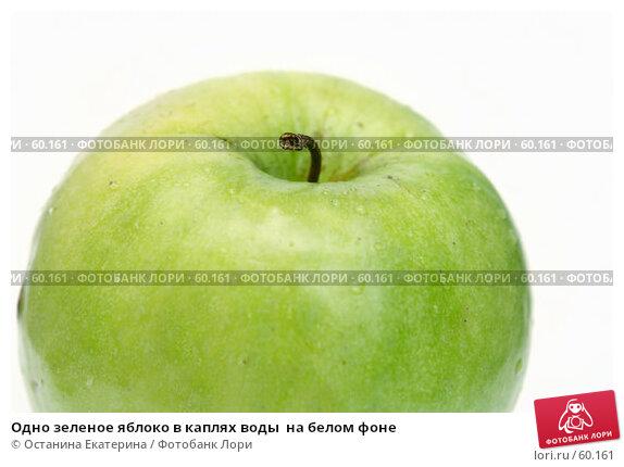 Одно зеленое яблоко в каплях воды  на белом фоне, фото № 60161, снято 16 марта 2007 г. (c) Останина Екатерина / Фотобанк Лори